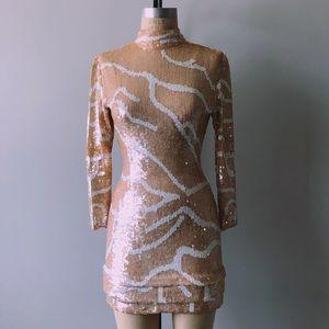 Rare 80s Vintage Linsiano Peach White Sequin Dress